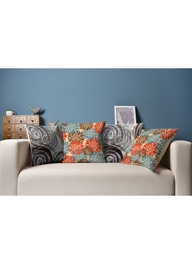 Tezkotekstil Kahverengi Mavi 4'Lü Kombin Dekoratif Yastık Kırlent Kılıfı Renkli